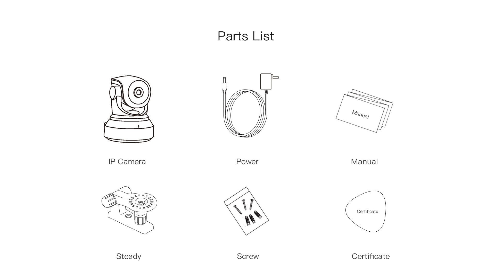 indoor security camera parts list